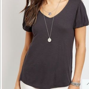 Maurices 24/7 Solid Bubble Sleeve Tee